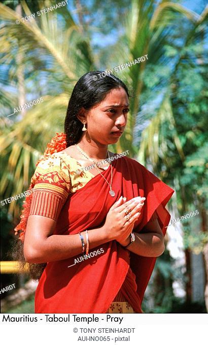 Mauritius - Indian Woman - praying position - red Sari