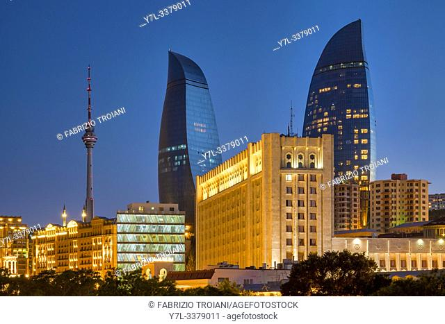Flame towers and TV Tower, Baku, Azerbaijan