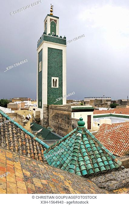 minaret of the Grande Mosque seen from the roof of Bou Inania Madrasa, Meknes, Morocco, North Africa
