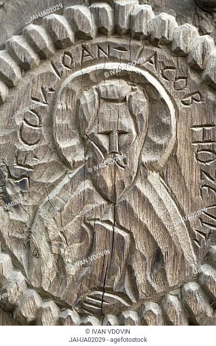 Saint, wooden miniature, Zakarpattia Oblast, Transcarpathia, Ukraine