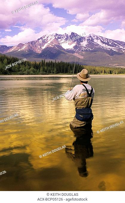 Trout fishing, Dennis Lake, British Columbia, Canada
