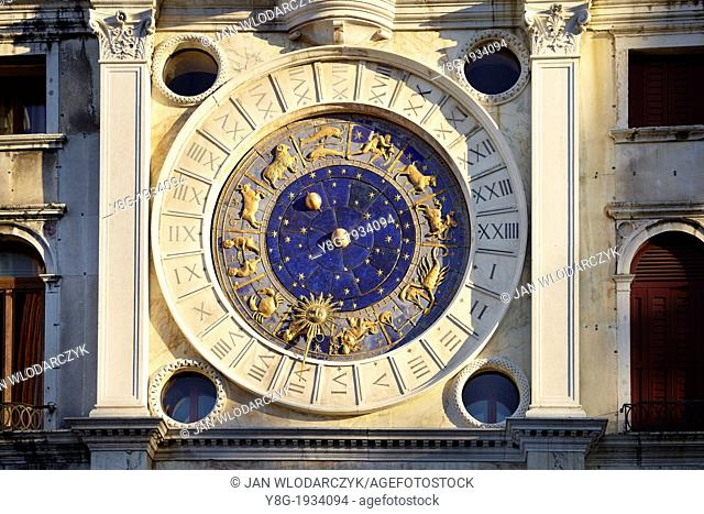 Venice - San Marco Square (St. Mark's Square), the Clock Tower with astronomical clock, 15th century, Venice, Italy, UNESCO