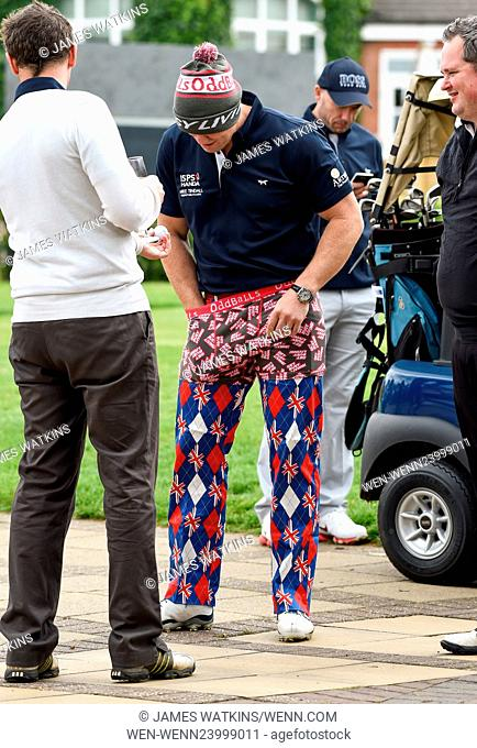 Mike Tindall playfully wears charity boxer shorts at his celebrity golf day at the Belfry in Sutton Coldfield Featuring: Mike Tindall Where: Sutton Coldfield