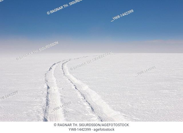 Jeep tracks on glacier, Vatnajokull Ice Cap, Iceland