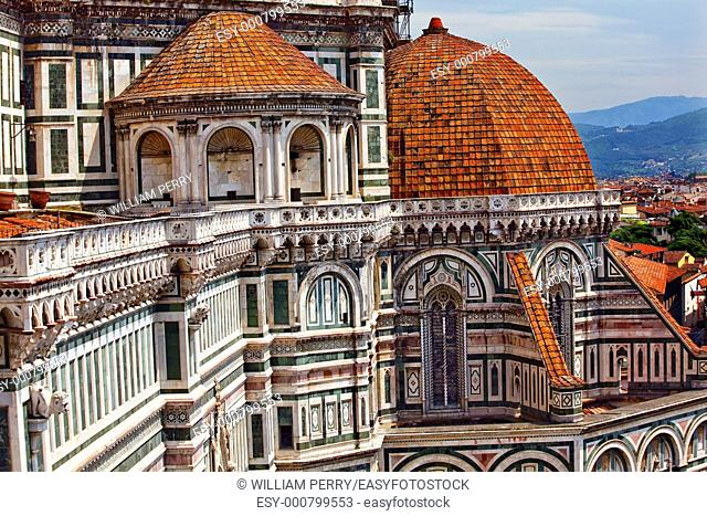 Duomo Basilica Cathedral Church from Giotto's Bell Tower Florence Italy Countryside in Background