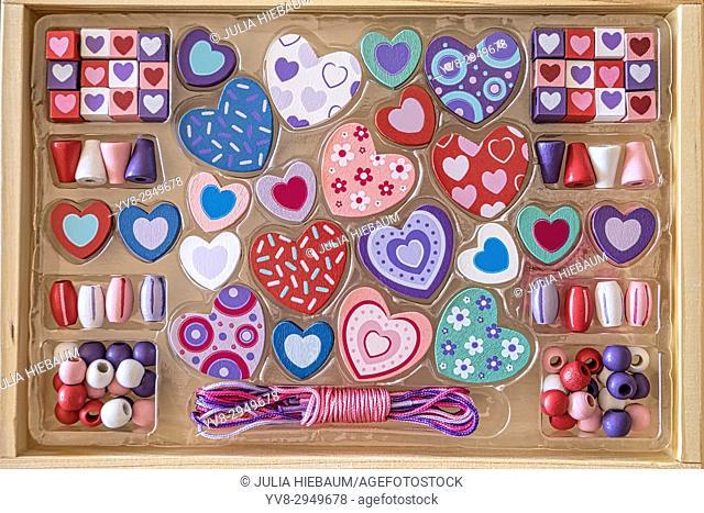 Various heart beads