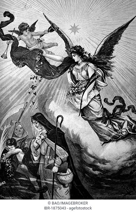 Symbolic image, turn of the year, historical illustration, about 1886