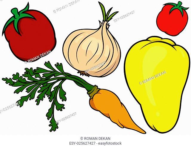 Colored Vegetables Set - Vector Illustration