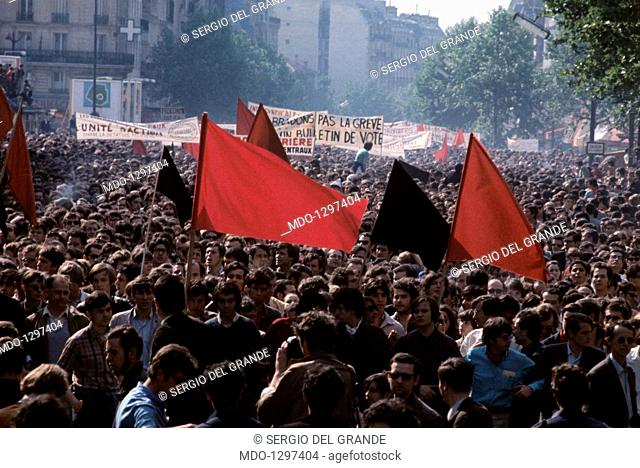 Crowds during a demonstration of May 1968 protests in France. An enormous demonstration, organised by the trade unions to protest against the government