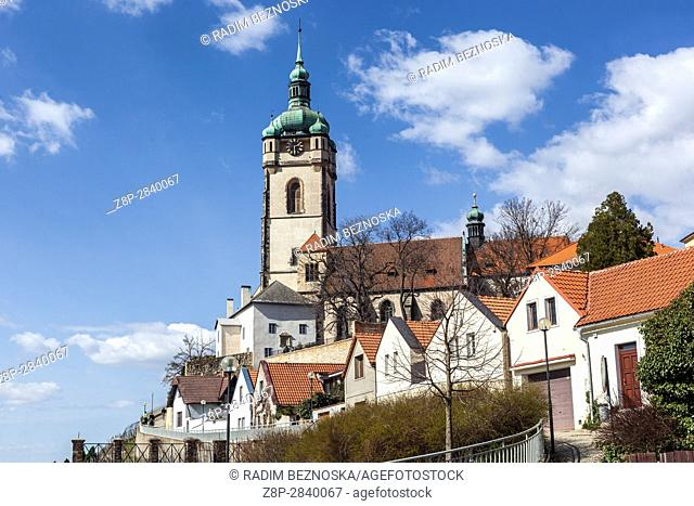 Church tower of St. Peter and Paul dominates the region at the confluence of the River Elbe and Vltava, Vineyards, Central Bohemia, Czech Republic