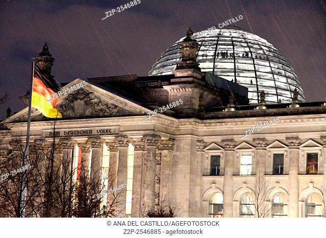 BERLIN GERMANY-DECEMBER 6: Night scene in Berlin on Christmas time on Dec 6, 2012 in Berlin. Reichstag in Berlin - Parliament snowing