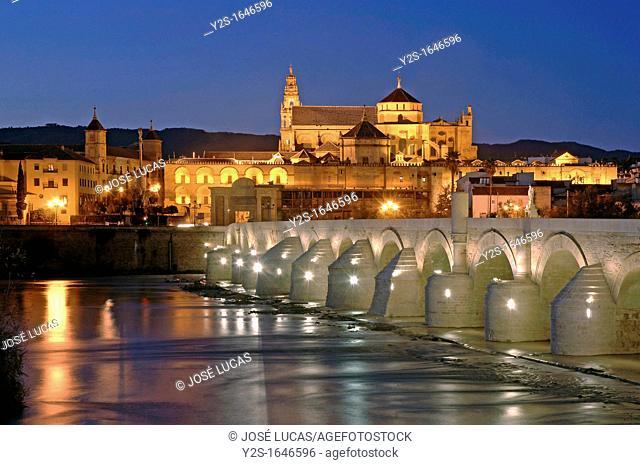 Guadalquivir river, Roman bridge and Arab mosque, Cordoba, Spain