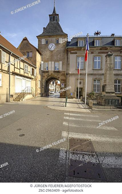 town gate and town hall of the village Rosheim, Alsace, France