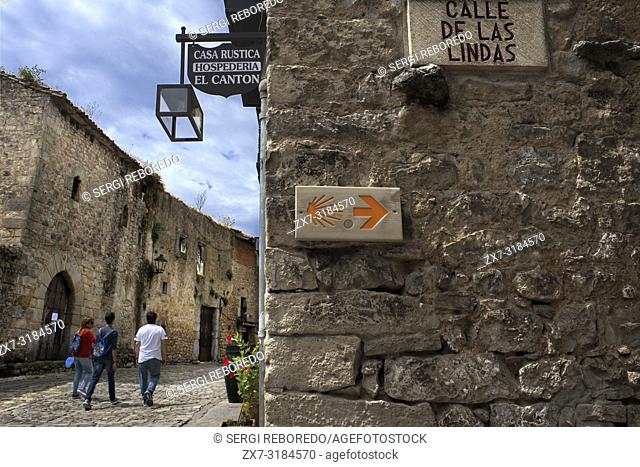 Mar of The Way of Saint James in Santillana Del Mar, Medieval Village in Cantabria, Spain. One of the stops of the Transcantabrico Gran Lujo luxury train