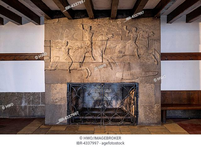 Fireplace with hunting scene relief, nazi architecture Heimatschutzstil, Ordensburg Vogelsang, 1936-1939 educational centre of the NSDAP, today Forum Vogelsang