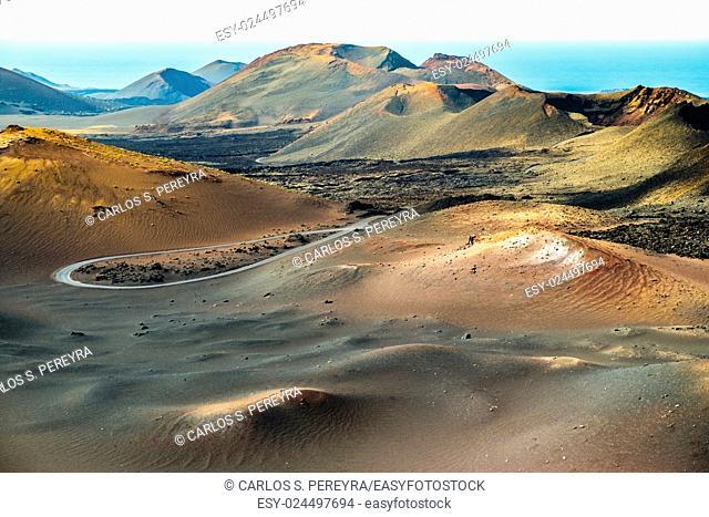 Timanfaya volcanic area in Lanzarote, Canary Islands, Spain