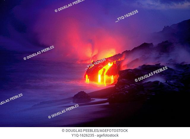 Lava into ocean Kilauea Volcano Hawaii Volcanoes National Park Island of Hawaii Hawaii USA
