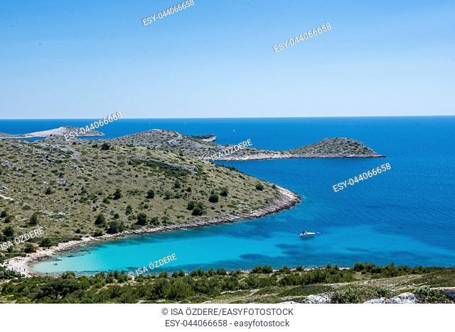 Panoramic view of Kornati islands in national park Kornati