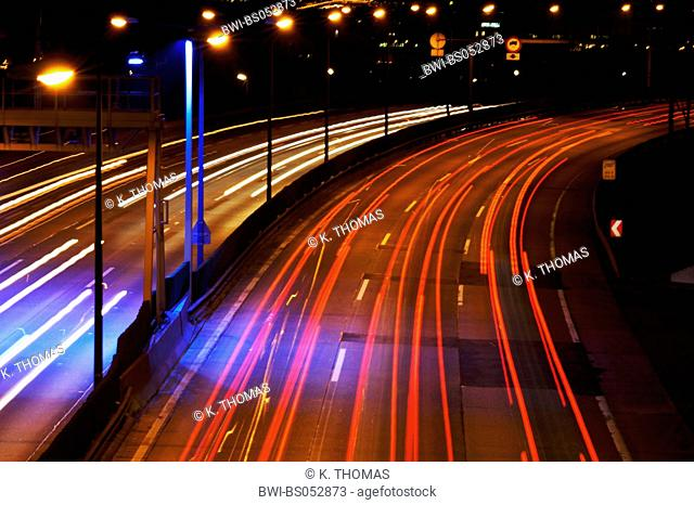 traffic at city highway at evening, light effects, Austria, Vienna, traffic, Vienna South-East-Highway