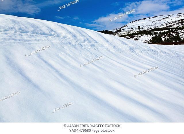 Scotland, Scottish Highlands, Cairngorms National Park  Snow covered hills in the remote Glen Feshie, part of the Cairngorms National Park