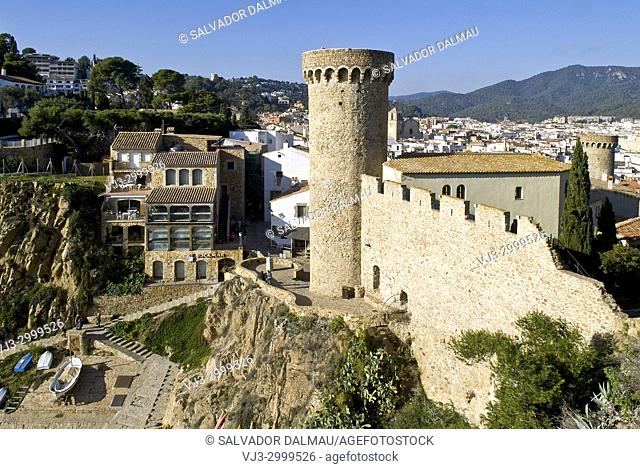 walled castle of tossa de mar,XII century,girona,spain,