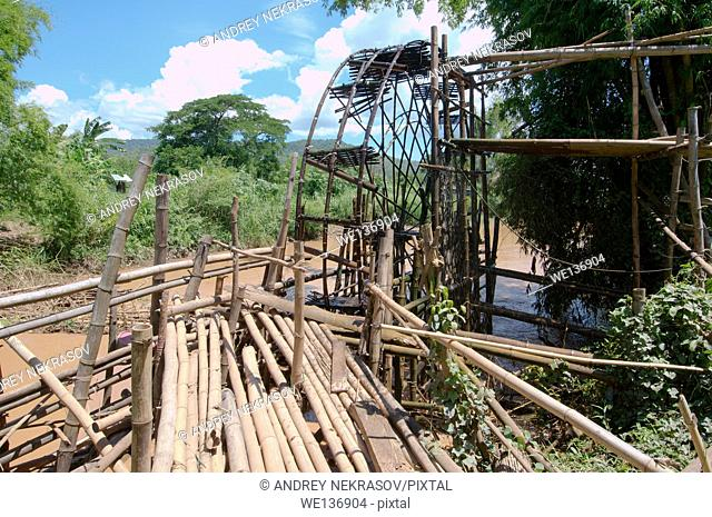 Bamboo water wheel for irrigation of rice fields, Loei province, Thailand