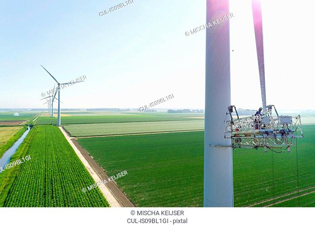 Maintenance work on blades of wind turbine, Biddinghuizen, Flevoland, Netherlands