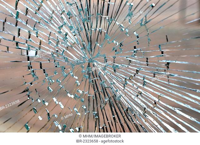 Broken pane of safety glass at a bus stop, Saxony, Germany, Europe