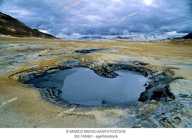 The Krafla area (in the north of Iceland in the Mývatn region) includes Námafjall, a geothermal area with boiling mudpools and steaming fumaroles