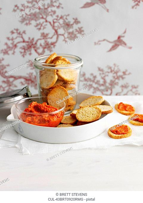 Toasted bread with spread