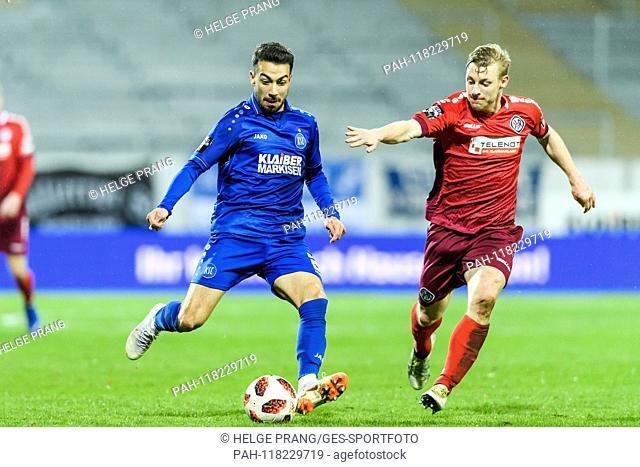 Burak Camoglu (KSC) 3k Patrick Funk (VfR Aalen). GES / Soccer / 3. Liga: Karlsruher SC - VfR Aalen, 13.03.2019 - Soccer / Soccer 3rd Division: Karlsruher SC vs...
