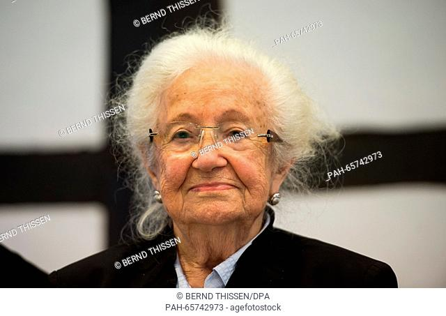 Auschwitz concentration camp survivor Erna de Vries attends a press conference inDetmold, Germany, 10 February 2016. The trial against a former SS guard at...