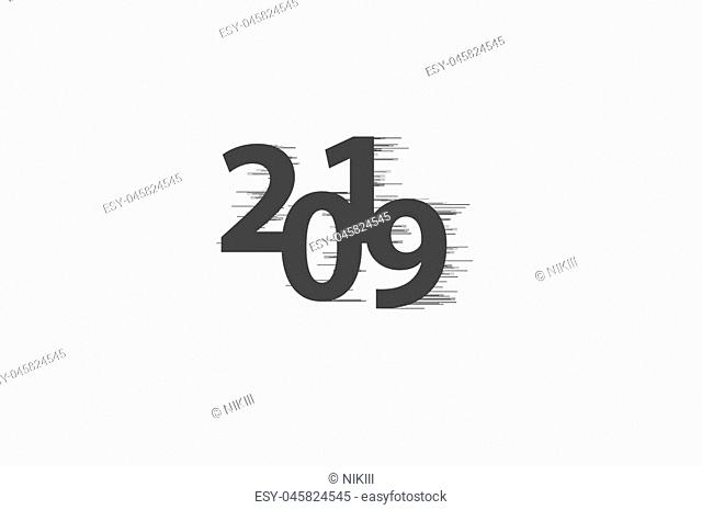happy new year 2019 with Speedy line on white background