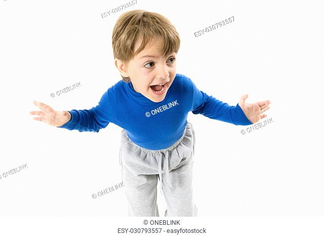 Funny Boy Shouting with open arms isolated on white