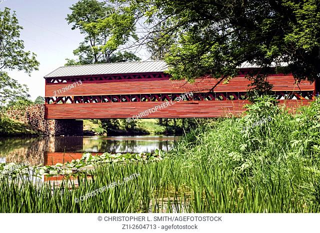 Sachs Covered Red Bridge in Pennsylvania PA