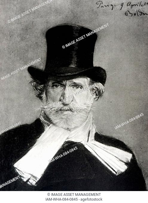 Portrait of Ritratto di Giuseppe Verdi (1813-1901) an Italian composer. By Giovanni Boldini (1842-1931) an Italian painter. Dated 19th Century