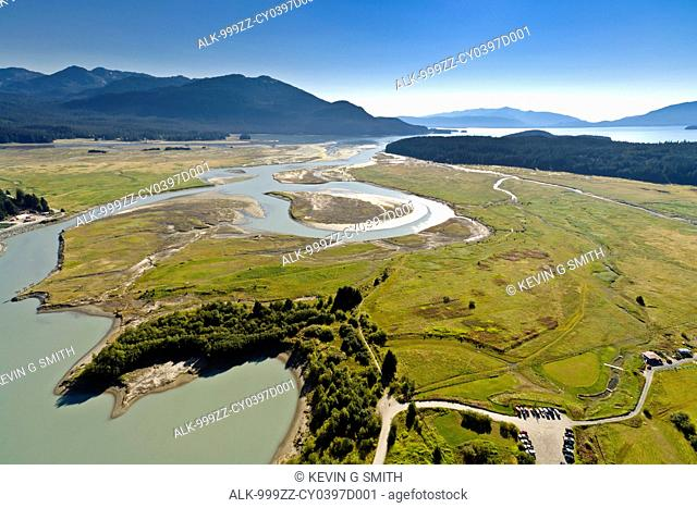 Aerial view of the Mendenhall Wetlands State Game Refuge towards Auke Bay, Juneau, Southeast Alaska, Summer