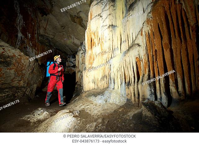 Caving in Niguella Cave, Zaragoza Province, Aragon, Spain