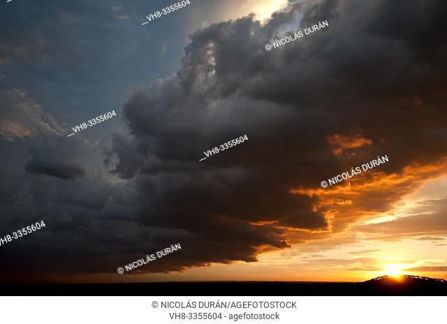 Sunset, Villar del Rey, Badajoz, Extremadura, Spain