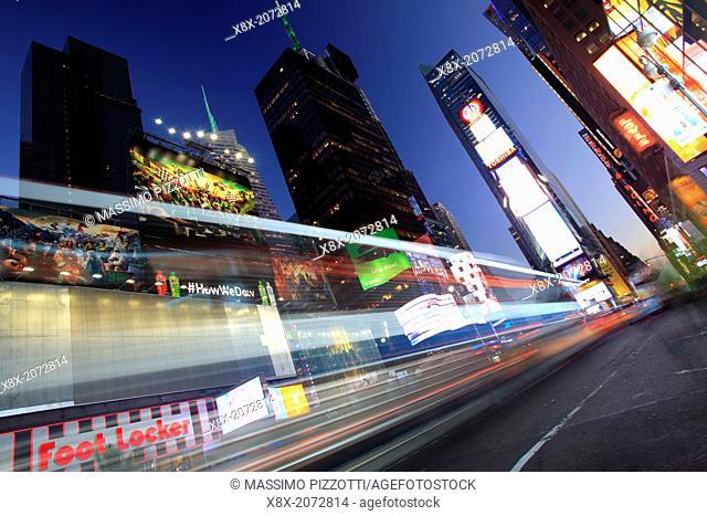 Car tracks in Time Square, New York City, USA