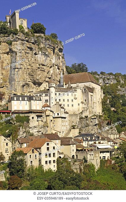 Rocamadour village wide landscape daylight view , France