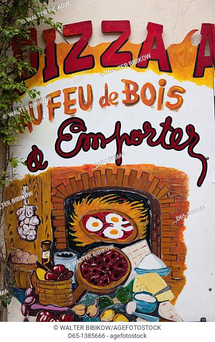 France, Languedoc-Roussillon, Pyrennes-Orientales Department, Vermillion Coast Area, Collioure, pizza shop sign