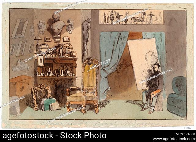 The Painter's Studio. Artist: Henry [Henri] Bonaventure Monnier (Paris 1805 (1799?)- Paris 1877); Date: ca. 1855; Medium: Pen and ink with colored washes over...