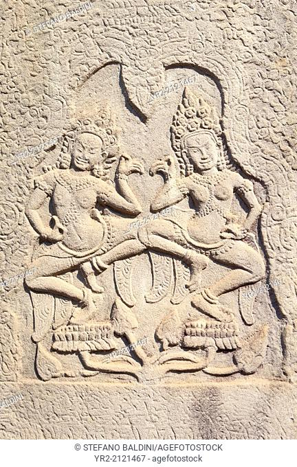 Dancing Apsaras bas relief from the Bayon, Angkor Thom, Siem Reap, Cambodia