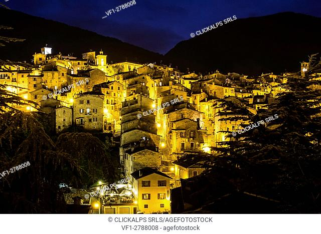 Scanno, Abruzzo, Italy, Europe. A night view of medieval Scanno village
