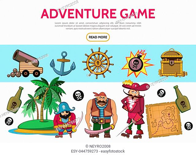 Cartoon adventure game elements set with pirates cannon anchor bomb treasure chest map bottles island steering wheel skull crossbones isolated vector...