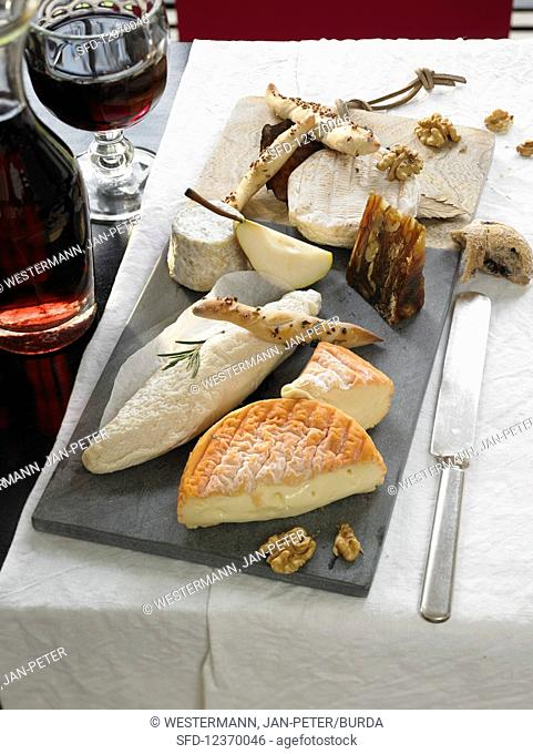 French cheese platter with wine
