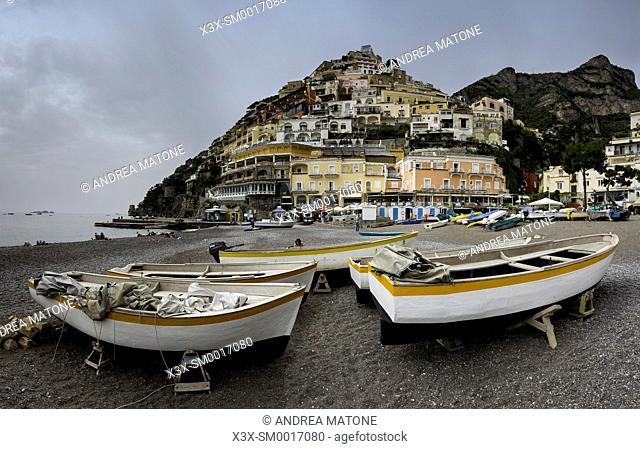 The town of Positano seen from the beach. Amalfi coast. Italy