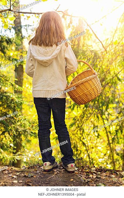 Girl walking through autumn forest, picking mushrooms