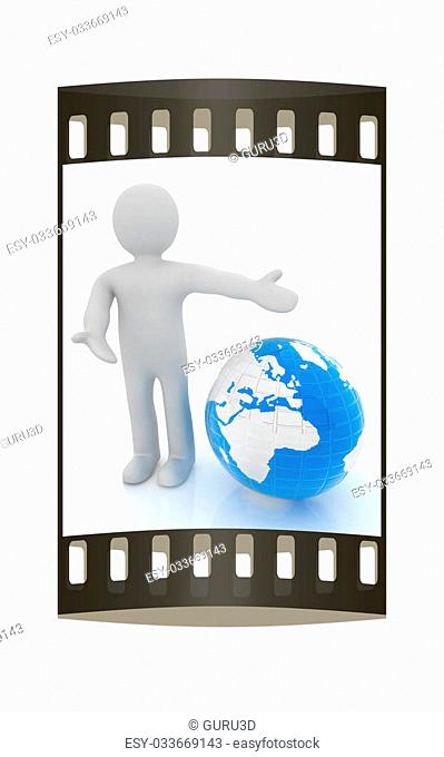 3d people - man, person presenting - pointing. Global concept with earth. The film strip